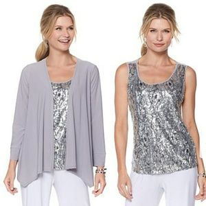 New ANTTHONY 2pc Sequin Tank and Jacket Set